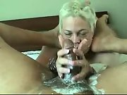 Naughty splooge handjob by blonde wifey