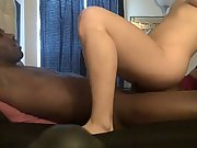 Insatiable blonde sucks and rails her big black cock amateur interracial