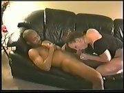 Dark-hued my white wife cuckold housewife bred on leather sofa with dude