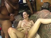 "2 11"" long large black cock ball sac all over wifes face"